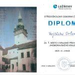 Diplom Vojtěchu Orlovi za 1. místo v krajské přehlídce Jihomoravského kraje