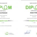 Dva diplomy pro úspěšné řešitele Jakuba Kokojana a Dannyho Ryšku