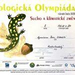 Diplom za 8. místo v Ekologické olympiádě 2021