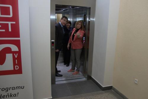 První jízda v novém výtahu